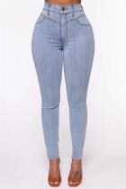 Blue Fashion Casual Skinny Solid Jeans