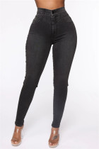 Black Gray Fashion Casual Skinny Solid Jeans