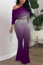 Purple Fashion Long Sleeve Oblique Collar Regular Sleeve Short Gradual Change Print Two Pieces