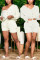 White Fashion Casual Long Sleeve V Neck Regular Sleeve Regular Solid Two Pieces