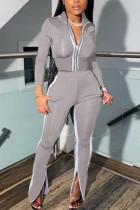 Gray Casual Sportswear Long Sleeve Zipper Collar Regular Sleeve Short Patchwork Two Pieces