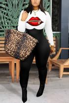 White Fashion street Print Lip Milk. Long Sleeve O Neck Jumpsuits
