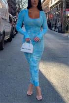 Sky Blue Fashion  Regular Sleeve Long Sleeve U Neck Printed Dress Ankle Length Print Dresses