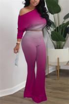 Fuchsia Fashion Long Sleeve Oblique Collar Regular Sleeve Short Gradual Change Print Two Pieces