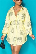 Yellow Fashion Regular Sleeve Long Sleeve Turndown Collar Shirt Dress Mini Print Dresses