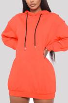 Orange Casual Regular Sleeve Long Sleeve Hooded Collar Mini Solid Dresses