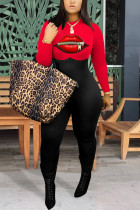 Red Fashion street Print Lip Milk. Long Sleeve O Neck Jumpsuits
