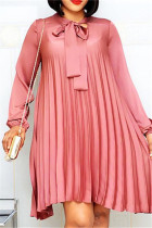Pink Casual Regular Sleeve Long Sleeve Mandarin Collar Pleated Knee Length Solid Dresses