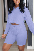 Purple Fashion Casual Long Sleeve Zipper Collar Regular Sleeve Short Solid Two Pieces