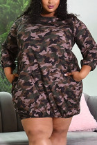 Camouflage Polyester Fashion adult Ma'am Lightly cooked O Neck Camouflage Plus Size
