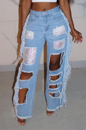 Light Blue Fashion Sexy Regular Patchwork Jeans