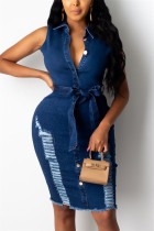 Deep Blue Fashion Sexy  Sleeveless Turndown Collar Denim Dress Knee Length Solid Dresses