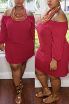 Red Spandex Casual One word collar Solid Draped Plus Size