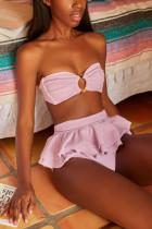 Pink Fashion Sexy Strapless Solid Swimwears