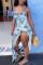 Multi Fashion Sexy Spaghetti Strap Sleeveless V Neck Printed Dress Floor Length Print Dresses