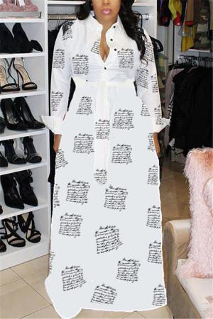 White Fashion Casual Regular Sleeve Long Sleeve Turndown Collar Shirt Dress Floor Length Print Dresses