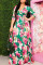 Green Fashion Regular Sleeve Half Sleeve V Neck Printed Dress Floor Length Print Dresses