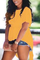 Yellow Fashion Casual O Neck Short Sleeve Regular Sleeve Regular Solid Tops