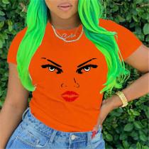 Orange Fashion Casual O Neck Short Sleeve Regular Sleeve Regular Print Tops