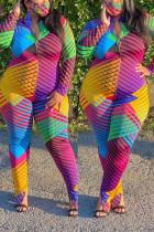 Multi Fashion Casual Zipper Collar Long Sleeve Regular Sleeve Print Plus Size Jumpsuit