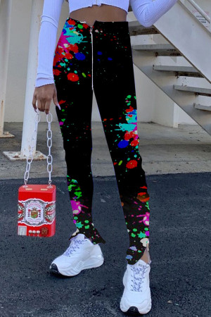 Red Fashion Casual Skinny Print Trousers