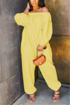 Yellow Fashion Casual Bateau Neck Long Sleeve Off The Shoulder Loose Solid Jumpsuits