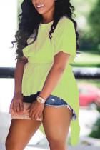 Light Green Fashion Casual O Neck Short Sleeve Regular Sleeve Regular Solid Tops