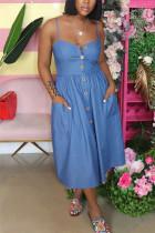 Blue Fashion Sexy Blue Spaghetti Strap Slip Swagger Mid-Calf Solid Dresses
