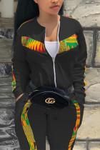Black Fashion Casual Sportswear Long Sleeve Zipper Collar Regular Sleeve Regular Patchwork Print Two Pieces