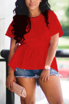 Red Fashion Casual O Neck Short Sleeve Regular Sleeve Regular Solid Tops