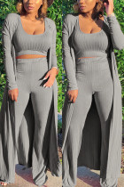 Gray Fashion Casual Daily Sleeveless Cold Shoulder Tank Regular Solid Two Pieces
