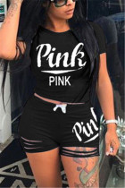 Black Fashion Casual Short Sleeve O Neck Regular Sleeve Short Letter Print Two Pieces