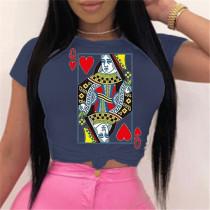 Navy Blue Fashion Cotton O Neck Short Sleeve Regular Sleeve Regular Print Tops