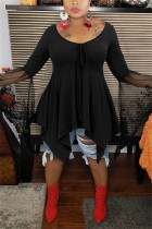 Black Fashion Casual V Neck Long Sleeve Flare Sleeve Solid Plus Size Tops