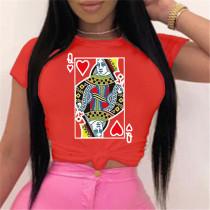 Red Fashion Cotton O Neck Short Sleeve Regular Sleeve Regular Print Tops