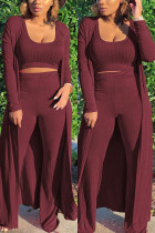 Wine Red Fashion Casual Daily Sleeveless Cold Shoulder Tank Regular Solid Two Pieces