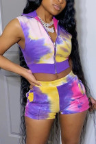 Purple Fashion Sweet Street Sportswear Sleeveless Zipper Collar Regular Mixed Printing Two Pieces