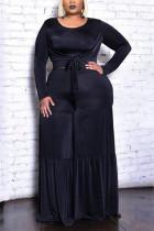 Black Fashion Casual O Neck Long Sleeve Regular Sleeve Solid Plus Size Set