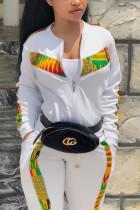 White Fashion Casual Sportswear Long Sleeve Zipper Collar Regular Sleeve Regular Patchwork Print Two Pieces