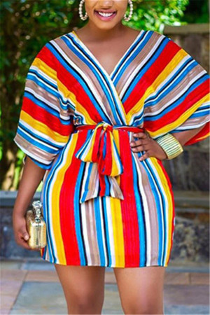 Red Fashion Casual Half Sleeve V Neck Mini Striped Print Dresses