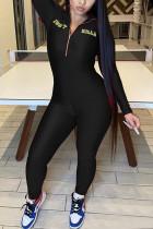 Black Fashion Zipper Collar Long Sleeve Regular Sleeve Skinny Embroidery Jumpsuits