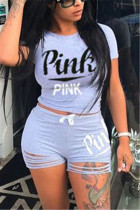 Gray Fashion Casual Short Sleeve O Neck Regular Sleeve Short Letter Print Two Pieces