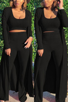 Black Fashion Casual Daily Sleeveless Cold Shoulder Tank Regular Solid Two Pieces