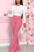 Rose Fashion Sweet Work Daily Long Sleeve O Neck Hubble-Bubble Sleeve Regular Solid Two Pieces