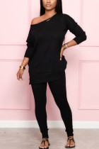 Black Fashion Casual Street Daily Long Sleeve Boat Neck Regular Sleeve Regular Solid Two Pieces