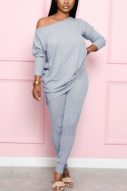 Gray Fashion Casual Street Daily Long Sleeve Boat Neck Regular Sleeve Regular Solid Two Pieces