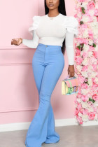 Light Blue Fashion Sweet Work Daily Long Sleeve O Neck Hubble-Bubble Sleeve Regular Solid Two Pieces