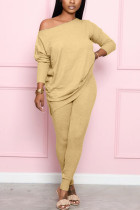 Apricot Fashion Casual Street Daily Long Sleeve Boat Neck Regular Sleeve Regular Solid Two Pieces