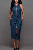Blue Fashion Casual Street Daily Cold Shoulder Sleeveless Cold Shoulder The MIDI Dress Mid Calf Solid Dresses