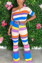 Multi Fashion Casual Street Sportswear Short Sleeve Boat Neck Regular Sleeve Regular Striped Two Pieces